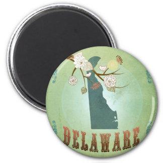 Mapa del estado de Delaware - verde Imán Redondo 5 Cm