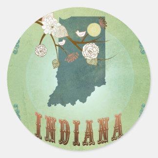 Mapa del estado de Indiana - verde Pegatina Redonda