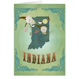 Mapa del estado de Indiana - verde Tarjetón