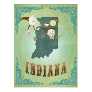 Mapa del estado de Indiana - verde Postal