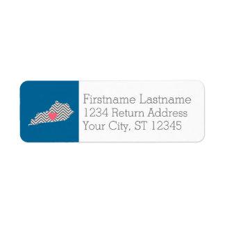 Mapa del estado de Kentucky con el corazón y el Etiqueta De Remitente