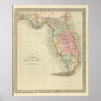 Mapa del estado de la Florida Posters