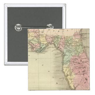 Mapa del estado de la Florida Pin Cuadrado