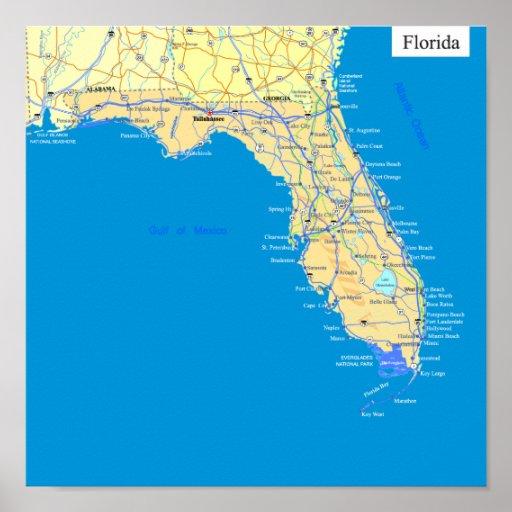Mapa del estado de la Florida Poster