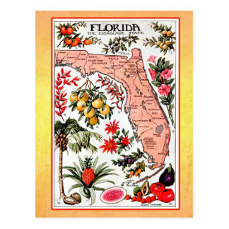 Mapa del estado de la Florida (reimpresión del Tarjeta Postal