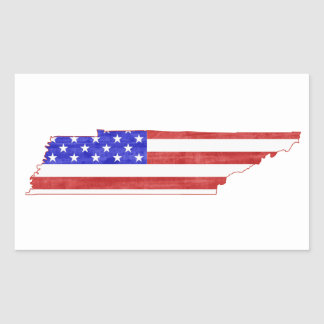 Mapa del estado de la silueta de la bandera de rectangular pegatina