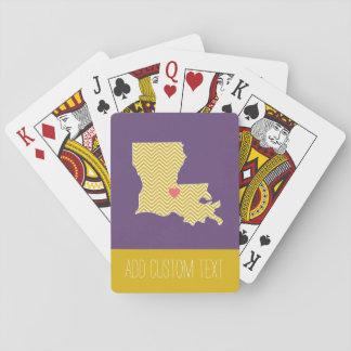 Mapa del estado de Luisiana con el corazón y el Baraja De Póquer