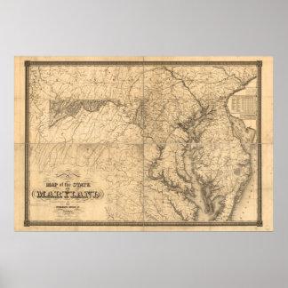 Mapa del estado de Maryland 1841by que coloca Luca Impresiones