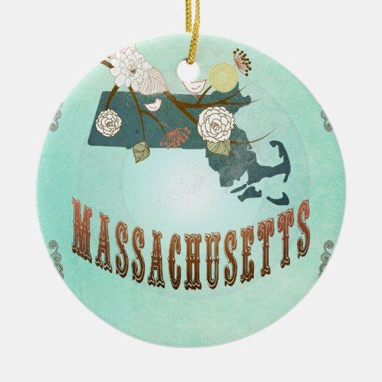 Mapa del estado de Massachusetts del vintage - Adorno Navideño Redondo De Cerámica