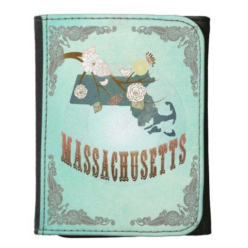Mapa del estado de Massachusetts del vintage - azu
