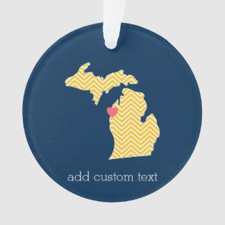 Mapa del estado de Michigan con el corazón y el