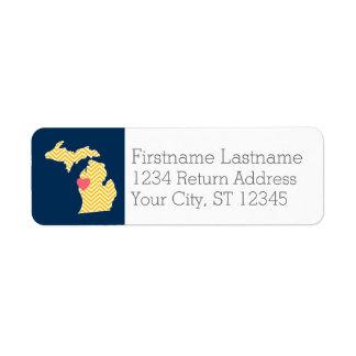 Mapa del estado de Michigan con el corazón y el Etiquetas De Remite