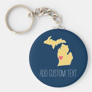 Mapa del estado de Michigan con el corazón y el Llavero Redondo Tipo Pin
