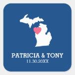 Mapa del estado de Michigan con el corazón y el Pegatina Cuadrada