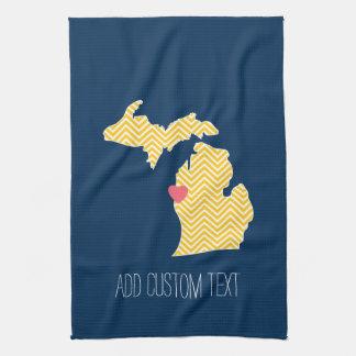 Mapa del estado de Michigan con el corazón y el Toalla