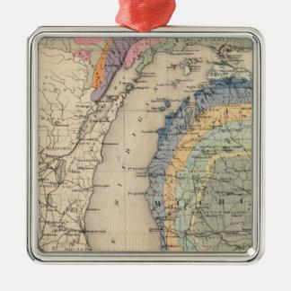 Mapa del estado de Michigan Ornamentos De Navidad