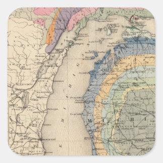 Mapa del estado de Michigan Pegatina Cuadrada