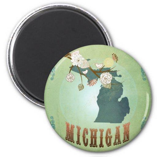 Mapa del estado de Michigan - verde Iman De Nevera