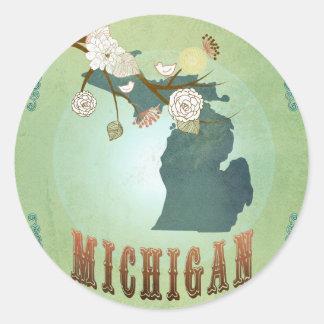 Mapa del estado de Michigan - verde Pegatina Redonda