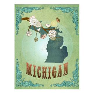 Mapa del estado de Michigan - verde Postales