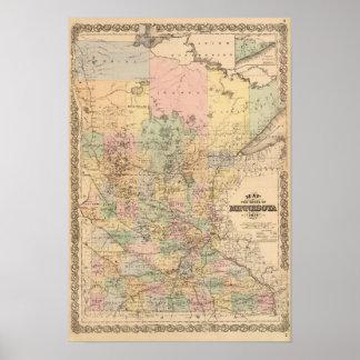 Mapa del estado de Minnesota, 1874 Póster