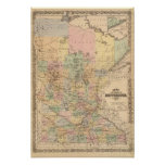 Mapa del estado de Minnesota, 1874 Posters