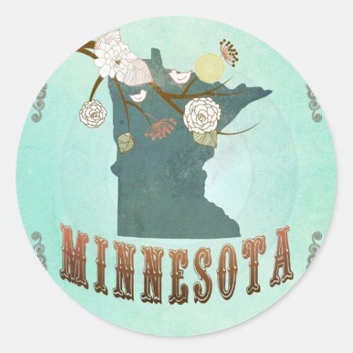 Mapa del estado de Minnesota del vintage - azul tu Etiqueta Redonda