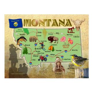Mapa del estado de Montana Postales