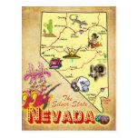 Mapa del estado de Nevada Tarjeta Postal