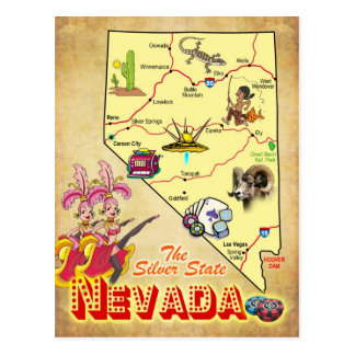 Mapa del estado de Nevada Tarjetas Postales