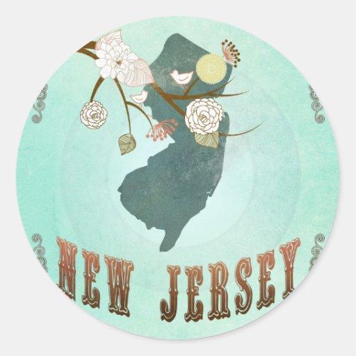 Mapa del estado de New Jersey del vintage - azul Pegatinas Redondas