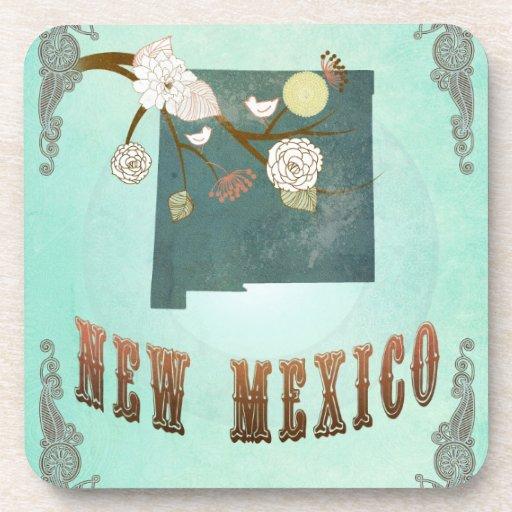 Mapa del estado de New México del vintage - azul t Posavasos De Bebida
