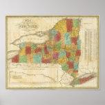 Mapa del estado de Nueva York Póster