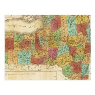 Mapa del estado de Nueva York Tarjeta Postal
