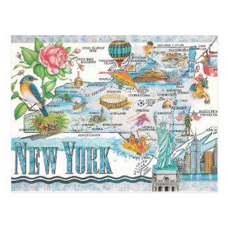 mapa del Estado de Nuevo York Tarjetas Postales