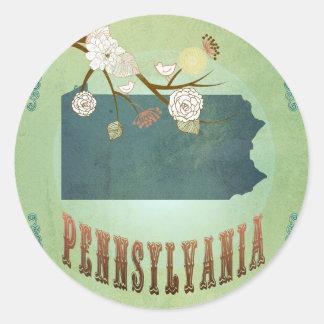 Mapa del estado de Pennsylvania - verde Pegatina Redonda