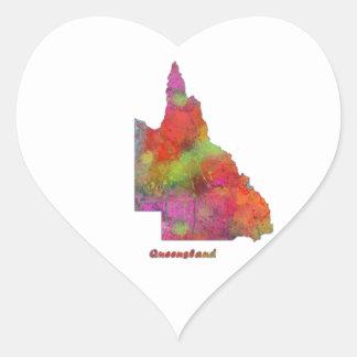 MAPA del ESTADO de QUEENSLAND - pegatinas en forma Pegatina En Forma De Corazón