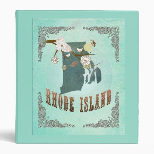 Mapa del estado de Rhode Island del vintage - azul