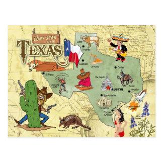 Mapa del estado de Tejas Tarjeta Postal