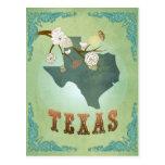 Mapa del estado de Tejas - verde Tarjeta Postal