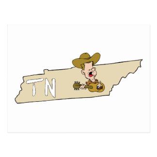 Mapa del estado de Tennessee TN y música de Nashvi Tarjetas Postales