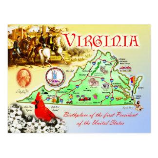 Mapa del estado de Virginia Postal