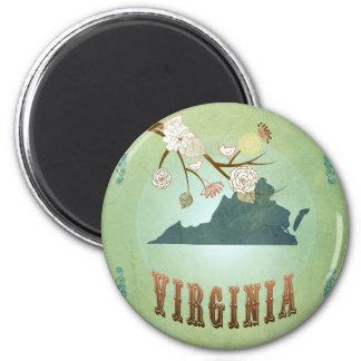 Mapa del estado de Virginia - verde Imán Redondo 5 Cm