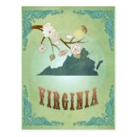 Mapa del estado de Virginia - verde Tarjetas Postales