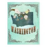 Mapa del estado de Washington del vintage - azul t Tarjeta Postal
