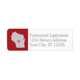 Mapa del estado de Wisconsin con el corazón y el Etiqueta De Remitente