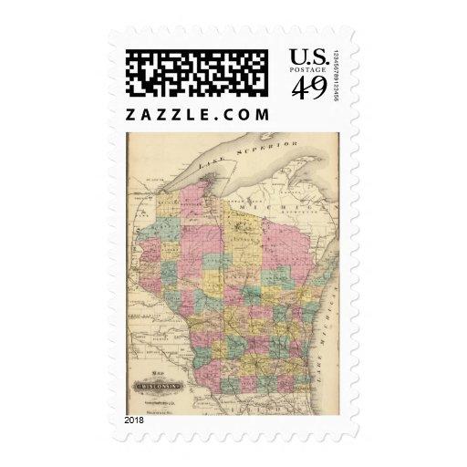 Mapa del estado de Wisconsin Franqueo