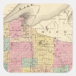 Mapa del estado de Wisconsin Pegatina Cuadrada