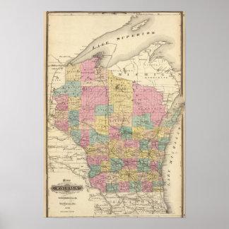Mapa del estado de Wisconsin Póster