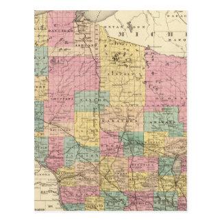 Mapa del estado de Wisconsin Tarjetas Postales